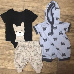 Carter's baby boy French bulldog outfit bundle